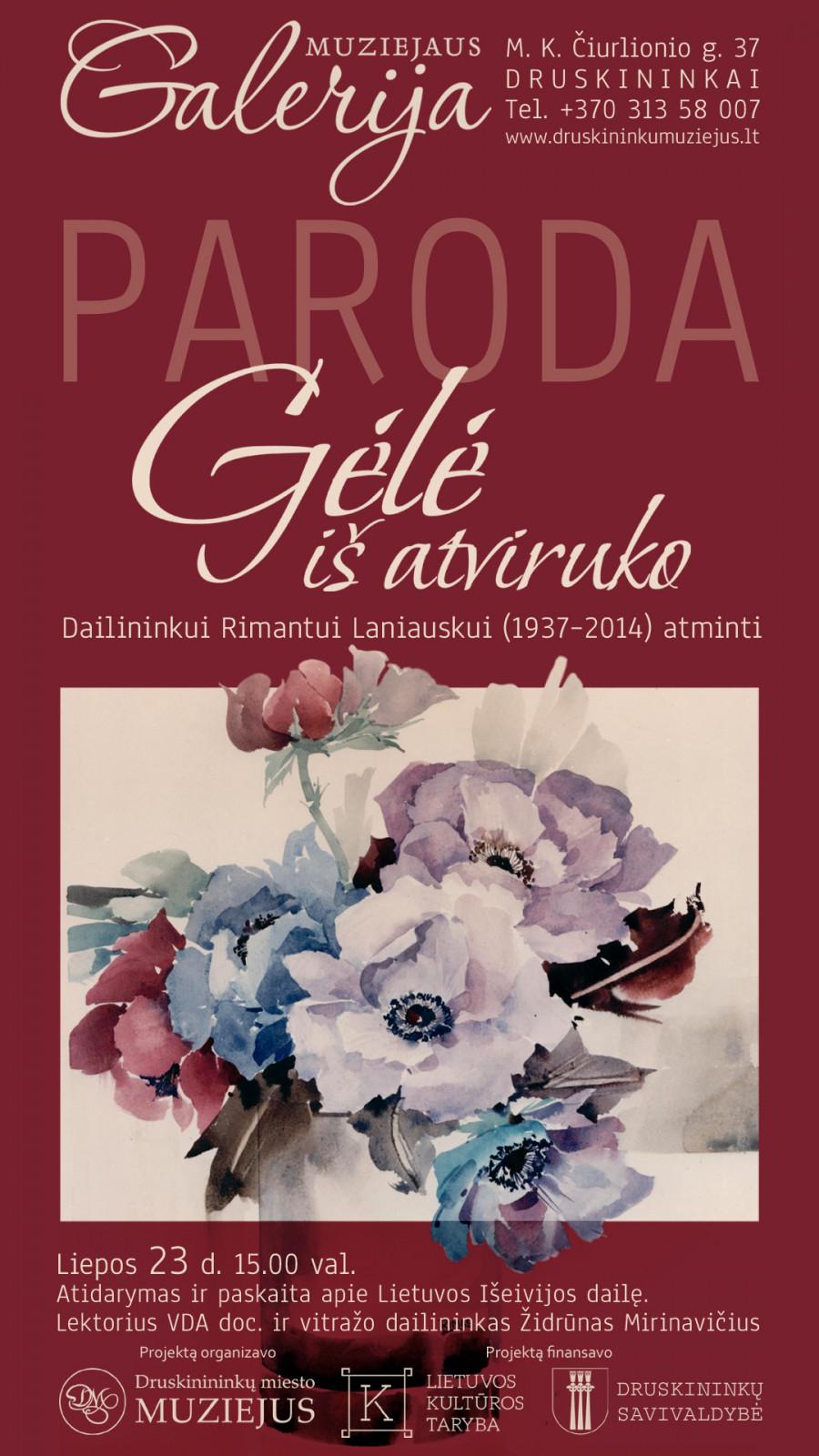 """""""Gėlė iš atviruko. Dailininkui Rimantui Laniauskui (1937–2014) atminti"""""""